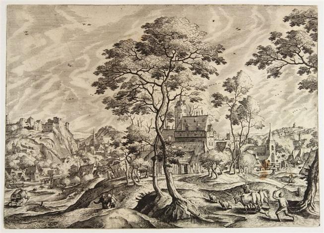 paesaggio con armenti pastore e figure and paesaggio con due pastori e maiali 2 works by hans bol