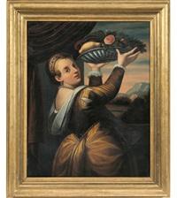ragazza con cesto di frutta by titian (tiziano vecelli)