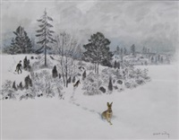 hare i vinterlandskap by harald wiberg