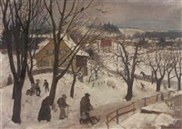 winter in dachau by richard (huber-dachau) huber