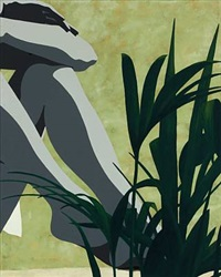 composition with woman's legs and plant by erik rasmussen