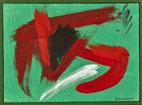 composition rouge sur fond vert by gérard ernest schneider