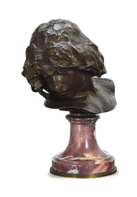 bust of a lady raised on a marble socle by henri peinte