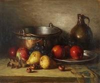 stillleben mit früchten, kupfer, zinn und krug by jacques (jacob cornelis) snoeck