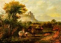 Traveler in a Farm Landscape