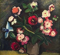 still life of flowers in a vase, recto; still life of flowers in a jug, verso by pranas domsaitis