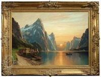 fjordlandschaft bei sonnenuntergang by carl bertold