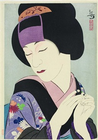 large portrait of the actor kataoka gado iv as miyuki in shôtsushi asagao nikki by yoshiwara kanpo