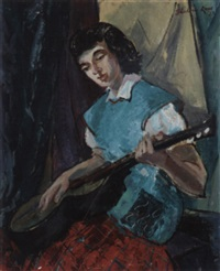 woman with a guitar by theodora kane