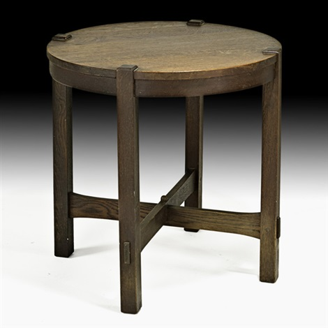 early and rare lamp table (no. 439) by gustav stickley