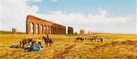 getreideernte vor einem alten aquädukt in der römischen campagna by pietro barucci