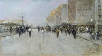 strada con figure by eugenio selva