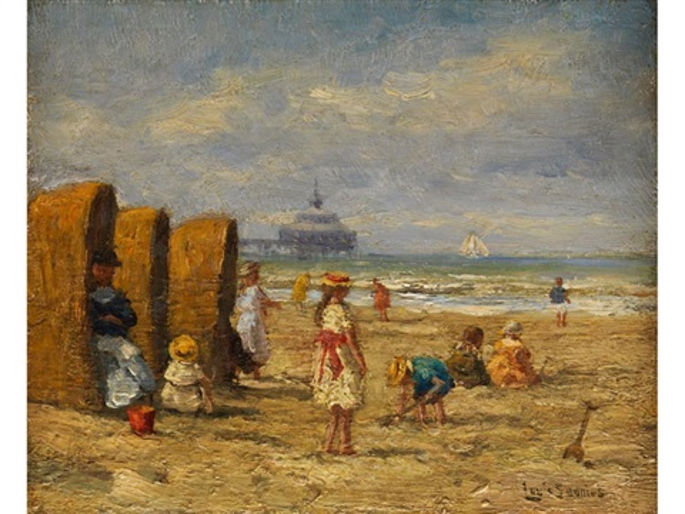 spielende kinder am strand by louis soonius