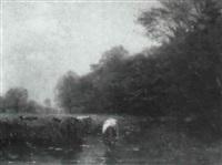kühe an der tränke by johann hendrikus moesman