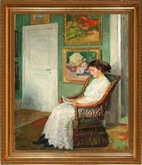 interior with a reading woman by gustaf wolmar