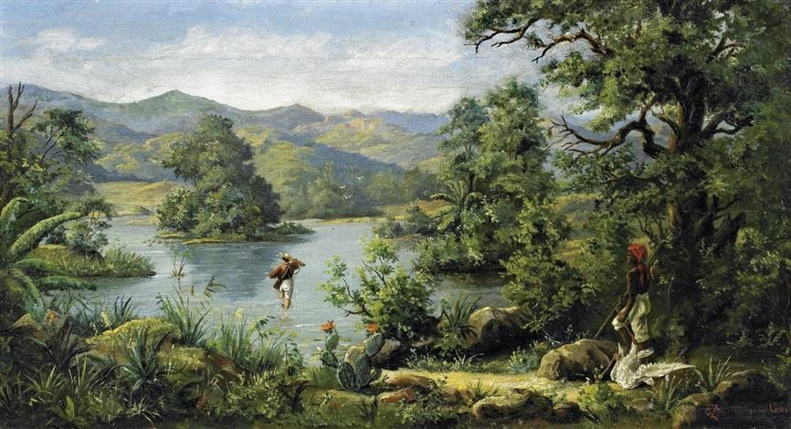 landschaft in brasilien (+ jäger mit seinem gehilfen bei der furt an einem urwaldfluss, ink and wash on paper, smllr; 2 works) by a. zimmermann