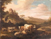 an italianate landscape with drovers and their animals by m.l. court