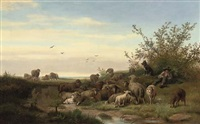 a shepherd resting with his flock by caesar bimmermann