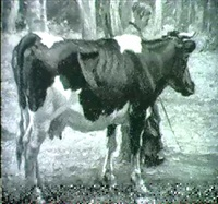 bauerin mit einer kuh by albert reibmayer