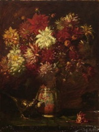dahlien in keramikvase by august roeseler