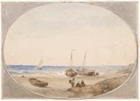 fischerboote am strand by andreas schelfhout