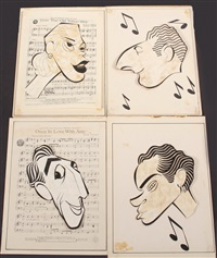 sheet music layouts for stars of four long-running ca 1950 broadway musicals by george wachsteter