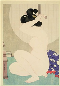 arranging hair after a bath by hirano hakuho