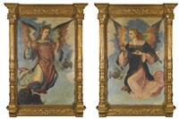 two wings from a triptych: a pair of angels with incense burners by flemish school (16)