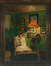 interior with reclining young woman by oyvind heggtveit