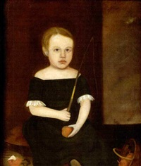 portrait of young charles frederick couch in green, seated beside basket of fruit by horace bundy