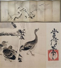 paravent, très beau décor hivernal animé par des oies (in 8 parts) by kano tsunenobu