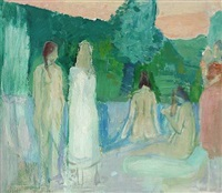 summer scenery with bathing women by sigurd vasegaard