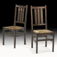 inlaid chairs (pair) by harvey ellis