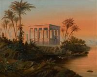 die alten tempelanlagen auf der insel philae vor assuan by eduard karl biermann