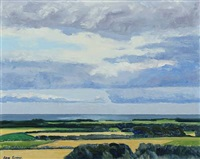 landscape with blue clouds by lars swane