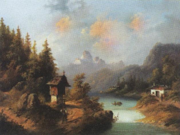 sommerliche alpenlandschaft by jules leon edouard jacquet