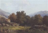 ziegenhirte mit herde in bergiger baumlandschaft by franz xaver von hofstetten