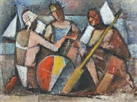 three figures in a cubist beach scene by simkha simkhovitch