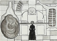 at the butcher's. two drawings in one frame by albert mertz