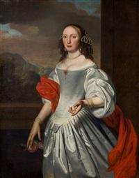 retrato de dama de tres cuartos, con fondo de paisaje by joannes buns