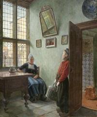 niederländisches interieur (eine frau unterhält sich mit einem botenjungen) by ernst wilhelm müller-schönefeld