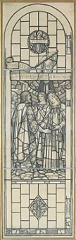 kg. malcolm meets st. margaret at wearmouth (design for stained glass window) by sydney harold meteyard
