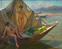 bathing in the river volga by fjodor ivanovitch rerberg