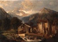 blick auf tiroler bergdorf mit großem bau by bernhard karl mackeldey