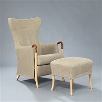 highback easy chair with matching foot stool (pair) by umberto asnago