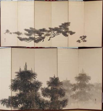 paravents à décor de branchages évoquant les saisons pair by shunkyo yamamoto