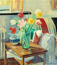 interior with tulips in a vase by the window by johannes meyer andersen