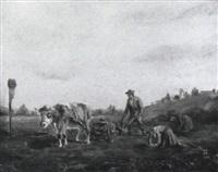 bauern bei der kartoffelernte by ludwig cornelius-muller