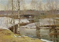 die stutenbrücke (landschaft im vorfrühling) by vladimir krantz