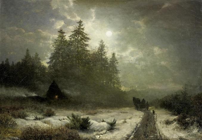 winterliche schlittenfahrt bei mondschein by sophus jacobsen